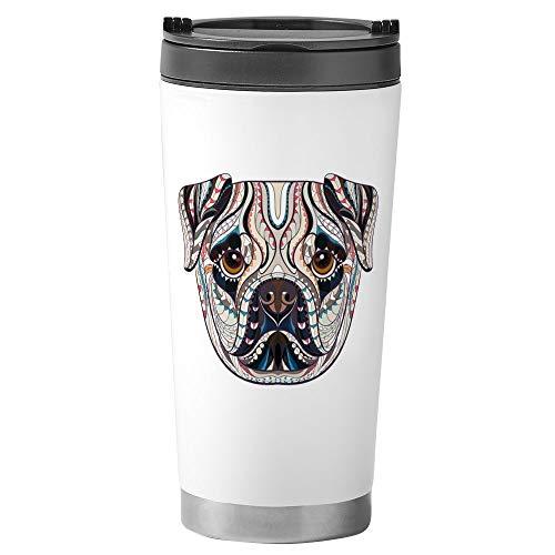 Stainless Steel Travel Drink Mug Patterned Pug Dog Lover