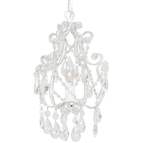 Best Choice Products Crystal Chandelier 1 Light Pendant Glass Ceiling Lamp Center Lighting White