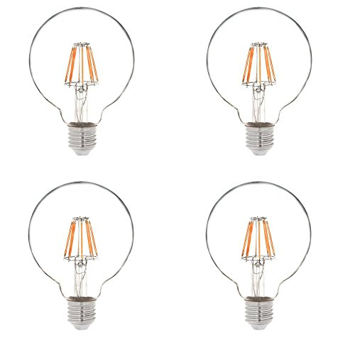 HERO-LED G30-DS-4W-WW27 Dimmable G30 E26/E27 4W Edison Globe Style LED Vintage Antique Filament Bulb, 40W Equivalent, Warm White 2700K, 4-Pack