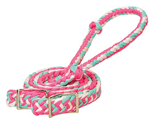 Weaver Leather Braided Nylon Barrel Reins, Pink/White/Mint/Sparkle, 1/2