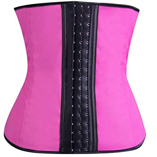 Whear Women Latex Cincher Underbust Corset Body Shaper Waist Trainer for Weight Loss Hourglass Tummy Control 3 Hook(Hot Pink, 3XL) -