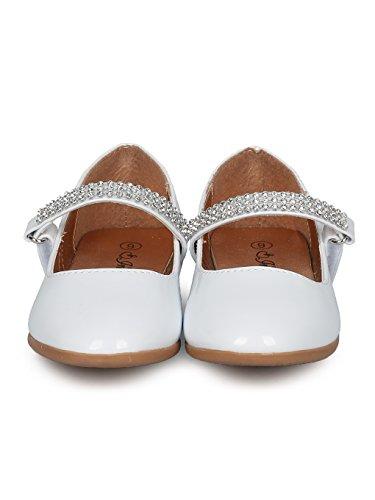 Indulge Grace-01 Girls Round Toe Rhinestone Mary Jane Ballet Flat HC74 - White Patent (Size: Little Kid 11) by Indulge (Image #3)