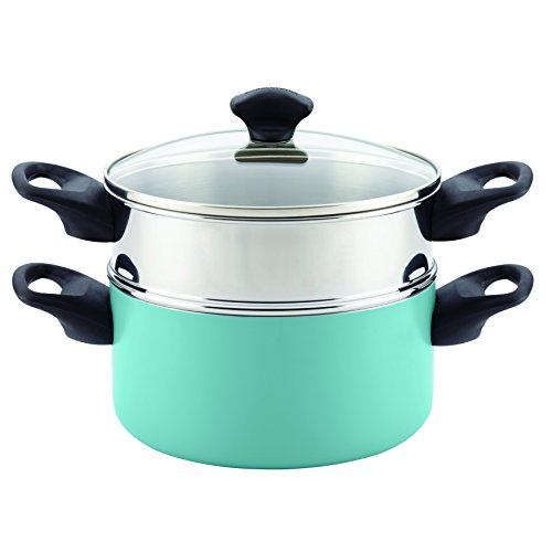 Farberware 21984 Dishwasher Safe Nonstick Aluminum Covered Saucepot & Steamer Insert, 3-Quart Stack 'N' Steam, Aqua, 3-Qt,