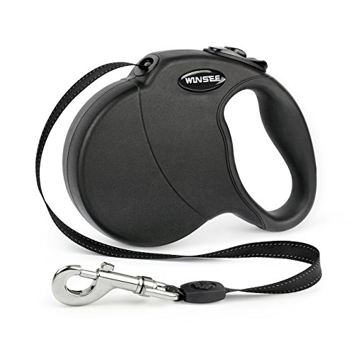 WINSEE Retractable Dog Leash,16ft Dog Walking Leash for Large Medium Small Dog Up to 110lbs, Reflective Ribbon Cord, Break & Lock System Black
