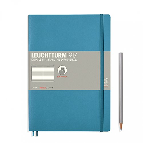 "Leuchtturm 1917 Soft Cover Composition B5 Notebook 7"" x 10"", Nordic Blue, Ruled / Lined"