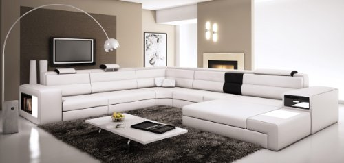 Leather Contemporary Sofas Sectional - VIG Polaris - White Contemporary Leather Sectional Sofa