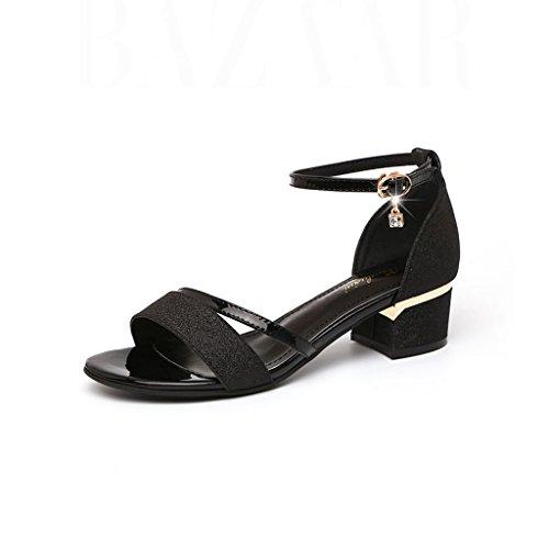 Toe Open Women Shoes Rhinestone Summer Mid Heel Rough Sandals Korean Heel Black Rome Yq0Fwx4