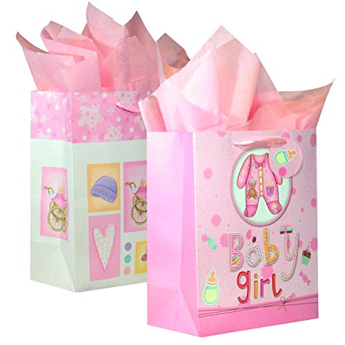 "BagLove Large Baby Girl Gift Bag with Tissue Paper (2 Pack) 10.5"" x 13"" x 5.5"" Perfect for Birthdays, Baptism, Christening and Baby Showers"