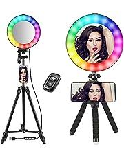 """Rainbow Selfie Ring-Light 14 Awasome RGB-kleuren Make-up Cirkellicht Superheldere camerafotografieverlichting met 10 helderheid Dimbare LED-lampjes voor livestreaming, YouTube, kunstenaarsvloggers (8 """")"""