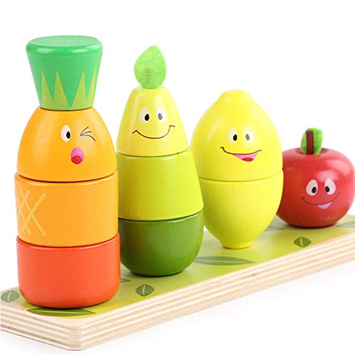 Yyz Safety and Environmental Protection Early Education Educational Toys Fruit Pile Tower Column Children's Wooden Block Building Blocks Birthday Gift