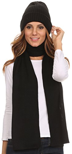 sakkas-chss1540-aldis-unisex-ribbed-knit-beanie-hat-and-scarf-set-black-os