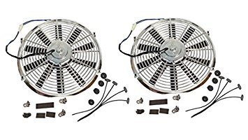 "Chrome Reversible 14/"" Inch Straight Blade Electric Cooling Fan 12V 1900CFM"