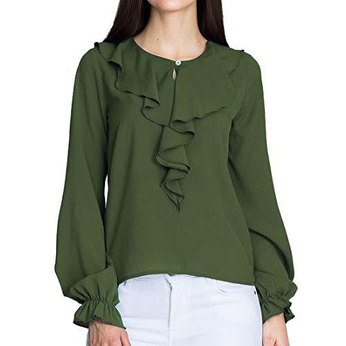 Manica Lato Verde di a Loto Autunno Maglie Tinta Cime Foglia e Rotondo Top Primavera Lunga Maglietta Donna Camicie T Shirts Collo Bluse Moda Esercito Shirt Casual Unita Tqz5F
