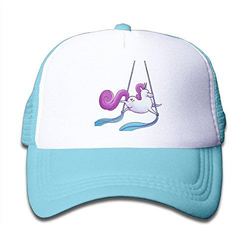 Henzhudi Aerial Silks Unicorn Unisex Grid Baseball Caps Adjustable Nice Icon Baseball Cap Customize SkyBlue