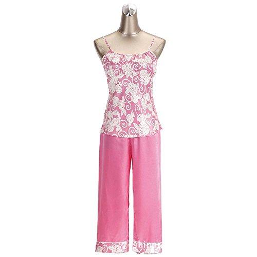La Sra seda de manga corta pijama de primavera y verano de tres piezas de chándal rose print