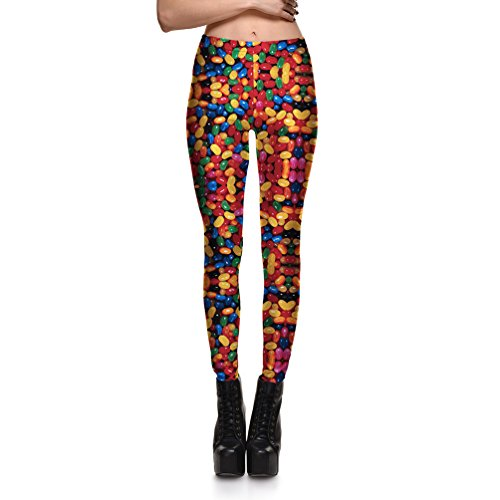Fanii Quare Newest Elastic Slimming Floral Active Workout Leggings Footless Tights Candy-L -