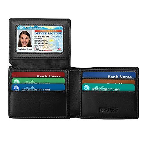 Genuine Leather Wallet for Men RFID Bifold Minimalist Wallet, Slim&Black