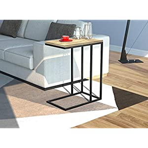 Safdie & Co. Accent End Table, C Shape Reclaimed
