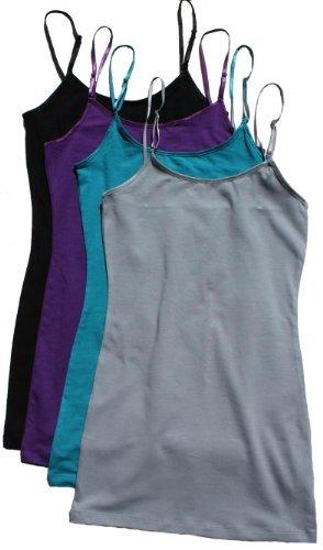 Zenana Women's Cami Sets (2 & 4 Packs),Large,4 Pack: Jade/Silver/Purple/Black