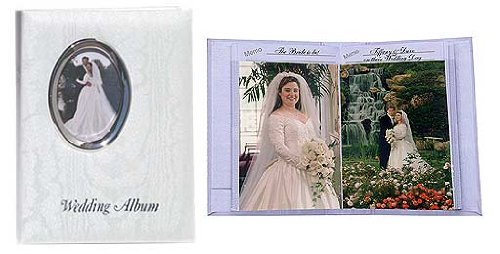 (Pioneer WFM-46, Bound Mini Wedding Photo Album with White Oval Framed Cover, 50 Pages Holds 100 4x6