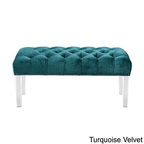 Iconic Home Odette Modern Button Tufted Turquoise Velvet Acrylic Ottoman Bench (Turquoise Velvet)
