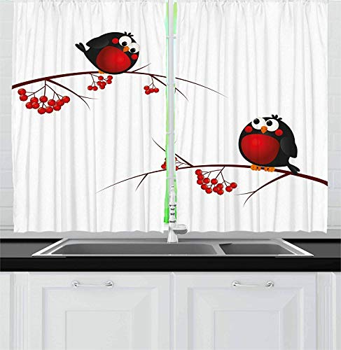 (LQQBSTORAGE Rowan Kitchen Curtains,Cute Kids Themed Cartoon Style Birds On Branches Funny Happy Christmas Design Window Drapes 2 Panel Set for Living Room Bedroom W120 x L108/Pair Red Black)