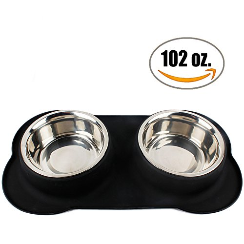 Large Dog Bowl - Two 51 oz. Stainless Steel Dog Bowls with No Spill Non-Skid Silicone Mat -- Water Bowl and Food Bowl for Medium to Large Dogs