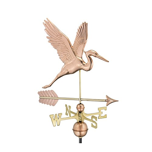 Good Directions Graceful Blue Heron with Arrow Weathervane - Pure Copper