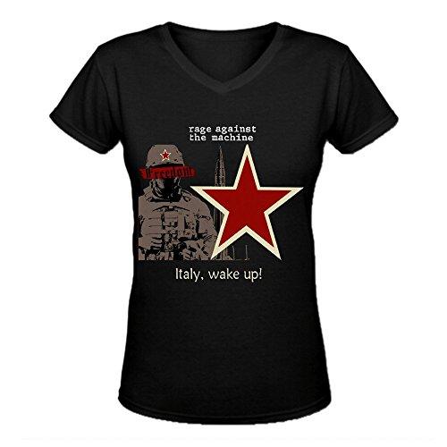 Bunny Angle Rage Against The Machine Italy Wake Up Funny Women V-Neck Tee Shirt Black