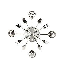 RBwinner 3D Removable Modern Cutlery Kitchen Spoon Fork Wall Clock Mirror Wall Decal silver 31.5 X 4.5 X 31.5cm
