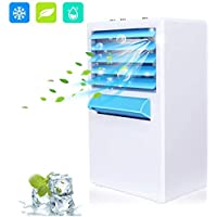 Personal Air Cooler – Evaporative Mini Air Conditioner with Icebox, 4-in-1 Portable Table Fan with 3 Fan Speeds, Quiet Mini Air Conditioner for Home & Office, Air Humidifier, AC Adapter Included