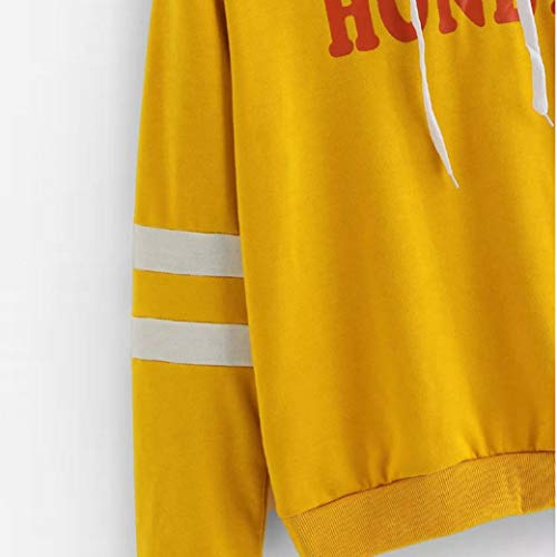 Fashion Pullover Blouse XOWRTE Women Top Yellow Sleeve Sweatshirt Yellow Hooded Printing Hoodie Letter Long 00wYFRq8
