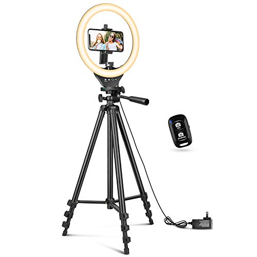 "10"" Ring Light with 50"" Extendable Tripod Stand, Sensyne LED Circle Lights with Phone Holder for Live Stream/Makeup…"