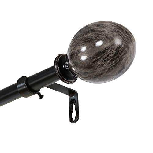 H.VERSAILTEX Window Curtain Rod, Marble Ball Decorative Curtain Drapery Rod Set Hardware, Adjusts Rod Length from 66 to 120-Inch, 3/4 - Inch Diameter