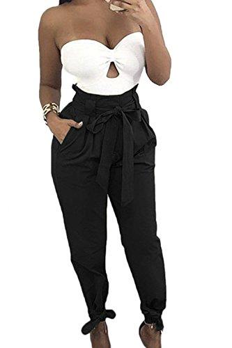 Mode Pantaloni Donna Harem Libero Pantaloni marca Inclusa Pantaloni Lunghi Sciolto Pantaloni Fashion Moda Primaverile di Nero Eleganti Donna Colori Solidi Waist Per Cintura Autunno Alla Tempo Casuali High vvSr8
