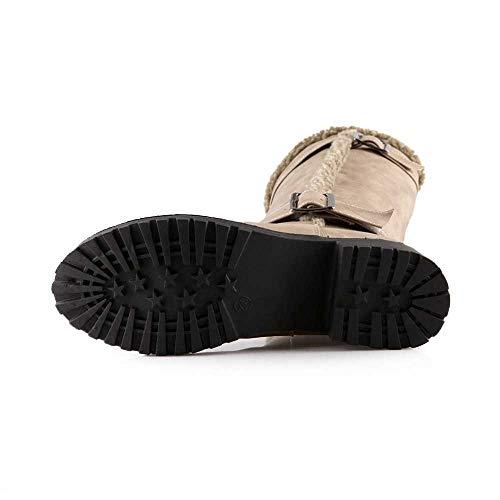 De Plotla Chaussures khaki Des Bottine Au Femmes Hiver Bottines Classiques Genou Bottes Mode Chaudes qAqwCPa