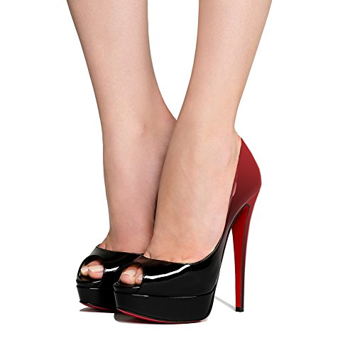 MERUMOTE Women's Slingbacks Peep Toe High Heels Shoes Platform Sandals Red&black fY6UHsT6YZ