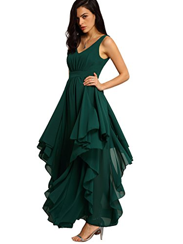 Milumia Women's Deep V Neck Backless Long Evening Party Dress