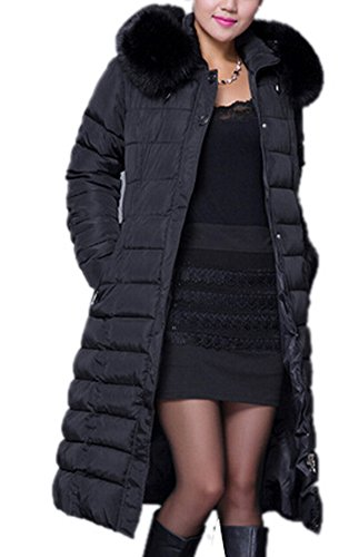 Allbebe Women's Winter Mid-Length Parkas Down Coat with Fur Trim Hood XL Black
