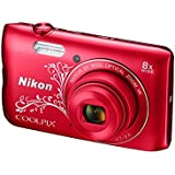 Nikon Coolpix A300 20.1MP Point and Shoot Camera with 4x Optical Zoom (Red Pattern) with Memory Card and Camera Case