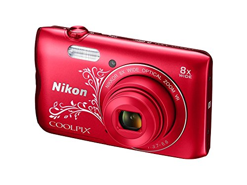 Nikon Coolpix A300 20.1MP Point and Shoot Camera with 8x Optical Zoom with Memory Card and Camera Case  Red Pattern