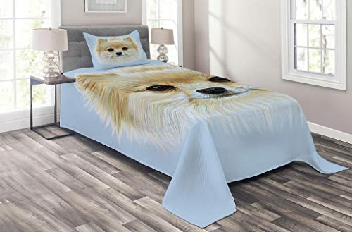 Lunarable Animal Coverlet Set Twin Size, Funny Portrait of Pomeranian Dog Pet Fluffy Friendly Companion Love Graphic, 2 Piece Decorative Quilted Bedspread Set with 1 Pillow Sham, Blue Cream ()