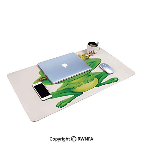 Cute Frog Prince Cartoon Character with Gold Crown and Lipstick Mark on His Lips Love Print Desktop Rat Pad,(19.7