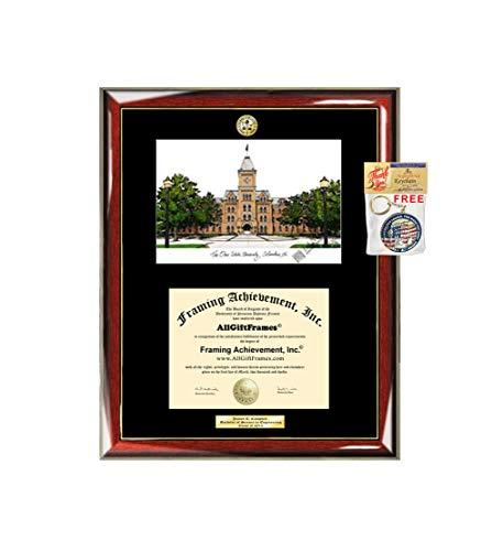 Ohio State University Diploma Frame School Lithograph Major Logo OSU Degree Graduation Plaque College Prestige Gold Accents Black Matted Graduate Gift Frame