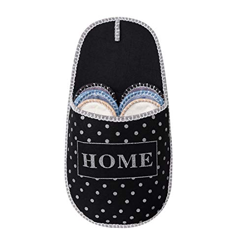 SLIPPERTREND Fleece Felt Close Toe 6 Pairs Home with White Dots Non Slip Indoor Family House Guest Slippers Set for Shoeless Home Black (Storage Entranceway)