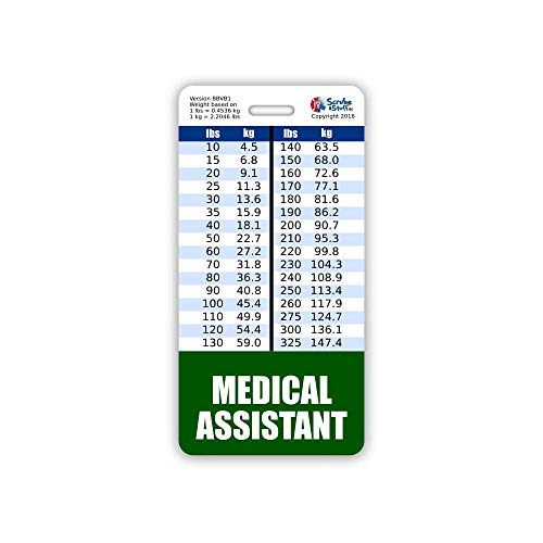 Medical Assistant Badge Buddy Vertical w/Height & Weight Conversion Charts (Standard, Hunter Green)