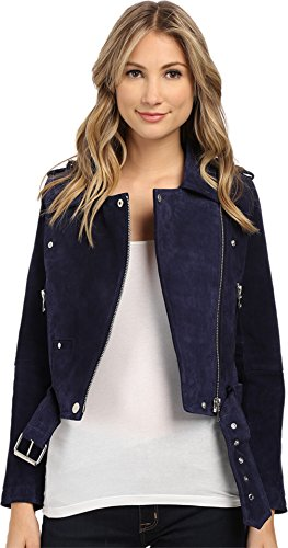 Blank NYC Women's Blue Suede Moto Jacket in Deep Blue/Navy Deep Blue/Navy - Small In Nyc Shops