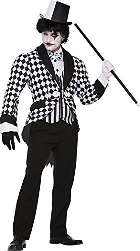 Mens Fancy Dress Party Halloween Costume Dark Jester Harlequin Clown Tailcoat
