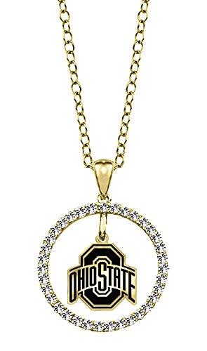 Ohio State University Buckeyes 14kt Yellow Gold and Diamond Circle Charm Pendant