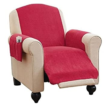 Recliner Chair Furniture Cover U0026 Pockets Burgundy / Cranberry Color